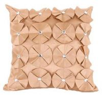 3D SHINY DIAMANTE CIRCLED RUFFLE DESIGNER FILLED CUSHION LATTE BEIGE COLOUR LARGE SIZE